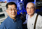 Milton Feng. left, the Holonyak Chair Professor of Electrical and Computer Engineering, and Nick Holonyak, a John Bardeen Chair Professor of Electrical and Computer Engineering and Physics, have recently coaxed their transistor laser to reveal fundamental properties of the transistor, and of the transistor laser, moving it a step closer to commercialization.