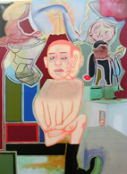 One of the collaborative paintings by New York artists David Humphrey, Elliott Green and Amy Sillman,