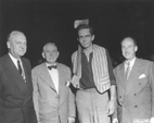 Harlington Wood, second from right, as Abraham Lincoln at New Salem, 1952, with, from left, Sen. Scott Lucas, Vice President Alben Barkley and Illinois Gov. Adlai Stevenson.