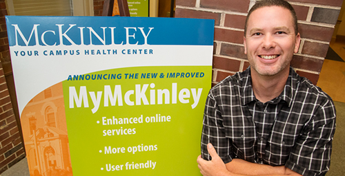 Brandon Boyd, the facilities manager for McKinley Health Center for the past four years, has been around construction-related work for most of his life. In addition to his work at McKinley, Boyd also repairs rental properties and works on his 1880s-era farmhouse near Cisco, Illinois.  Click photo to enlarge