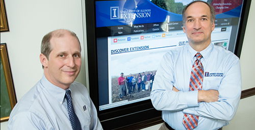 Networking U. of I. Extension is reaching new audiences and collaborating with new research partners through a partnership with the College of Agricultural, Consumer and Environmental Sciences and the Office of the Provost. Steve Wald, right, is Extensions director of communications, and George Czapar is the director of Extension and outreach, and an associate dean in the college.  Click photo to enlarge