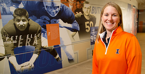 Nicole Anderson, an office administrator for the Fighting Illini football program and an assistant to the head coach, says she feels like a part of the family even though she doesn't step on the field. She takes losses as hard as anyone on the team - and like the coaches and players, must shake it off and start the next week with a fresh, positive attitude.  Click photo to enlarge