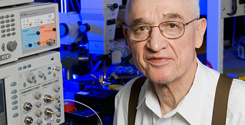 Illinois emeritus professor Nick Holonyak Jr., who developed the first visible-light LED, was honored with the Draper Prize, the highest honor in engineering, along with two of his former students.  Click photo to enlarge