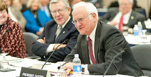 Sticking around President Bob Easter, who is helping with the presidential transition until his retirement later this year, is shown here at the recent board of trustees meeting in Chicago. At Urbana's Senate Executive Committee Feb. 2, Easter said the university has the ability to weather short-term state funding cuts.  Click photo to enlarge