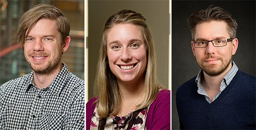 Three Illinois faculty members were awarded 2015 Sloan Research Fellowships. From left: Ryan J. Foley, astronomy and physics; Alison R. Fout, chemistry; Thomas E. Kuhlman, physics.  Click photo to enlarge