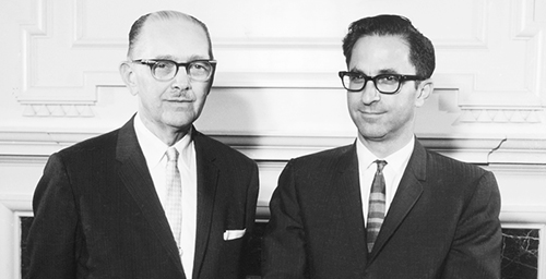 Following the lead University President David Dodds Henry, left, picked Jack Peltason in 1967 to lead the Urbana campus after the university created chancellorships at Urbana, Chicago Circle and the Medical Center in Chicago. Dodds was said to have been unbendingly supportive of the new chancellor's activist efforts, made in the aftermath of the 1964 Civil Rights Act, the 1965 Higher Education Act and the assassination of movement leader Dr. Martin Luther King.  Click photo to enlarge
