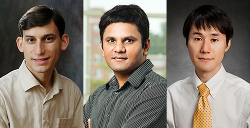 Three University of Illinois professors - from left, P. Brighten Godfrey, Prashant Jain and Shinsei Ryu - have been selected to receive 2014 Sloan Research Fellowships from the Alfred P. Sloan Foundation.  Click photo to enlarge