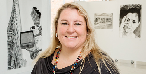 Heidi Hardenbrook, an office administrator for the School of Art and Design and Krannert Art Museum, enjoys the wonk-ish nature of her job, which includes researching university hiring processes and procedures. Hardenbrook has been with the university for nine years and continues to add skills to her resume.  Click photo to enlarge