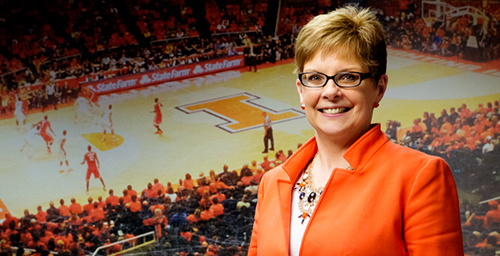 Julie Pioletti, a 30-year university employee who has managed the men's basketball team office for nine years, is more likely to lead a fast bake than a fast break. In addition to regular office duties, she goes out of her way to be the team mom - baking goodies for players on their birthdays and supplying a hug when needed. She said she's been most amazed at the numerous details it takes just to play a basketball game.  Click photo to enlarge