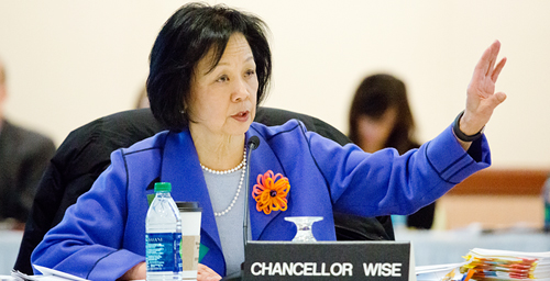 "At the table Chancellor Phyllis M. Wise makes a point during her Dashboard Indicators presentation to the U. of I. Board of Trustees on March 7. Wise also reported to supportive trustees that the campus would soon be initiating a program to improve diversity in faculty and staff hiring and in student recruitment and retention. ""We have to make this an issue that is core to what we do,"" she said in her report.  Click photo to enlarge"