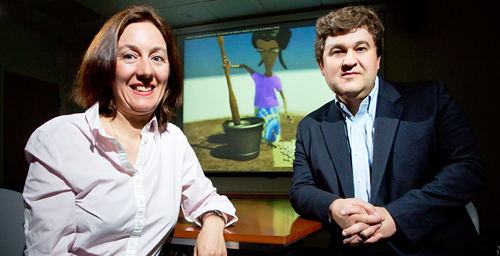 Julia Bello-Bravo (left), the assistant director of Illinois Strategic International Partnerships, and entomology professor Barry Pittendrigh (right) co-founded Scientific Animations Without Borders. Francisco Seufferheld, a visiting program coordinator in the department of entomology, is the project manager.