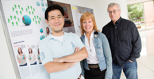 Designing for usability Professor Nan Goggin,center, the director of the School of Art and Design, says industrial design is the school's largest major. Professor Cliff Shin, left, designed an award-winning washer and dryer for LG; professor David Weightman, right, has worked for Massey Ferguson and Yamaha, and helped students design U. of I.'s Solar Decathlon house in 2009 and 2011.  Click photo to enlarge