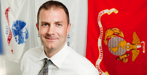 Nick Osborne, a Coast Guard veteran, became the first coordinator of Veteran Student Support Services within the Office of the Dean of Students last January.