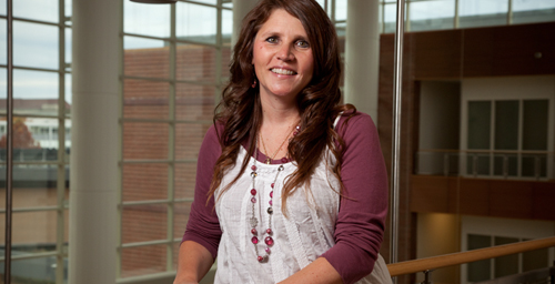 Tammy Collins, a 22-year UI employee, has spent half of her career in the College of Education, where she is assistant facilities manager. Her responsibilities include everything from ensuring light bulbs are changed at all five of the college's buildings, to showing up when a late-night alarm goes off.  Click photo to enlarge