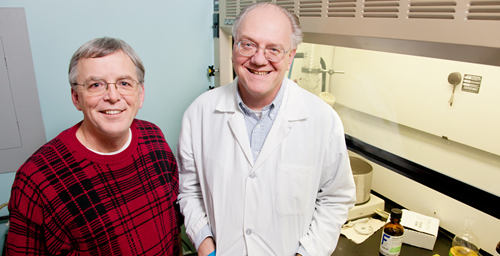 Michael J. Plewa, right, a professor of genetics in the department of crop sciences, and Brian Miller, the director of the Illinois-Indiana Sea Grant College Program