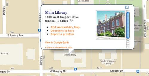 Map entries pop up with options that include directions from campus point to campus point (by car, bike, bus or foot), photos of buildings, accessibility information and even bus stops.
