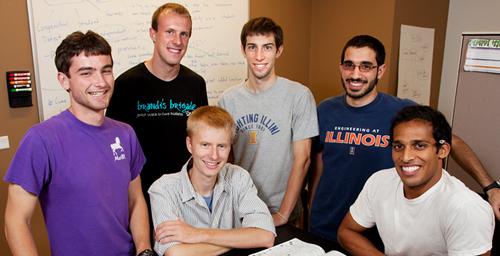 The Illini Prosthetics team at its office in EnterpriseWorks, from left, Jonathan Naber, Richard Kesler, Adam Booher, Luke Jungles, Ehsan Noursalehi and Hari Vigneswaran. All are seniors.