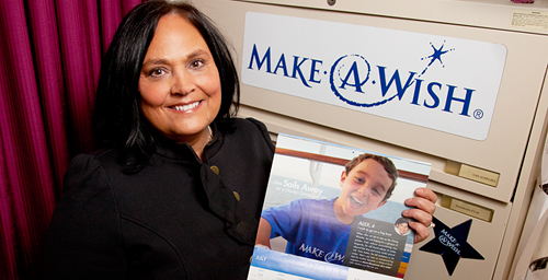 "Donna Zimmerman, an administrative clerk in the College of Liberal Arts and Sciences, has been working with Make-A-Wish for six years to grant wishes to children with serious illnesses. ""We are making a difference in their lives,"" Zimmerman said."