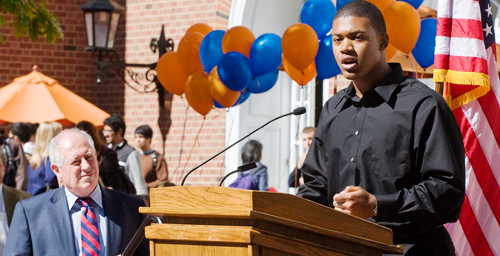 Edward Washington, a freshman in political science, talks about the importance of Illinois MAP grants to low-income students at a rally on the Quad on Oct. 7. Gov. Pat Quinn, left, led rallies at several college campuses to build support for reinstating funding for the grants, which was cut in half by the Illinois General Assembly. If legislators don't agree to a new funding plan, MAP recipients won't receive any aid for the spring semester.  Click photo to enlarge