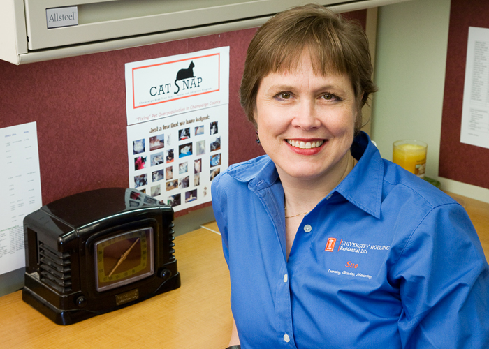 Sue Wilson, an office support associate in Housing, volunteers for a local animal welfare group called CATsNAP.