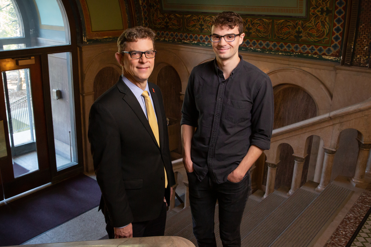 Professor Richard Sowers, left, and recent graduate Daniel Carmody have developed a new computer algorithm that will help urban planners understand and measure traffic congestion and suggest alternative routes.