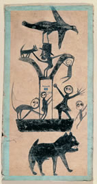 Bill Traylor, Figure / Construction with Blue Border (circa 1941), Poster paint on cardboard, American Folk Art Museum, New York