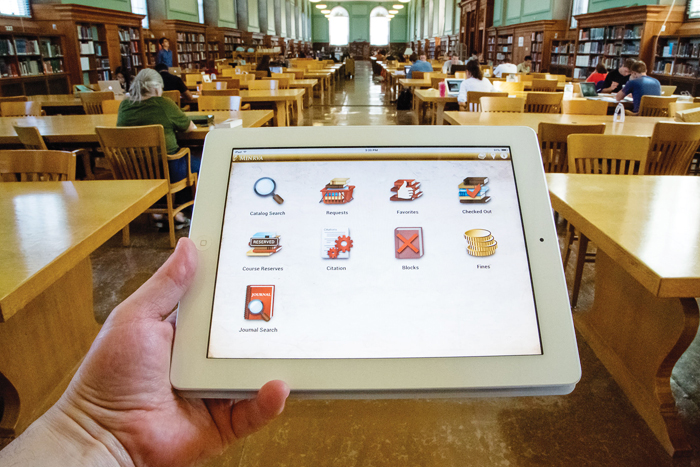 A mobile phone application called Minrva, developed by student interns in the undergraduate librarys Technology Prototyping Service (TPS), allows library users to use their cell phones to search books and journals, request books, and after they request them, pick them up from the front desk.