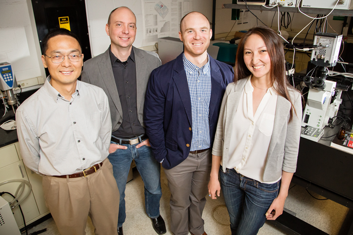 Pictured, from left: Professor Huimin Zhao, professor Charles Schroeder, graduate students Luke Cuculis and Zhanar Abil.