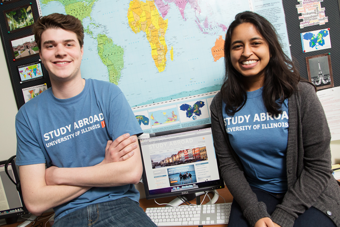 Having both studied overseas, Study Abroad student advisers Bobby Warshaw and Ruchi Tekriwall are able to share their first-hand knowledge with other students considering participating in a U. of I. program.