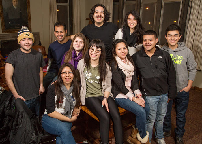 Among the members of La Colectiva: front row, from left, Laura Carlos; Samantha Busso, the 2013-2014 president; Ines Nava; Kevin Estrella; and Cristian Nuo; back row: Neil Hernandez; Diego Espino; Andrea Barron, Xavier Ramirez; and Jennifer Escobar.