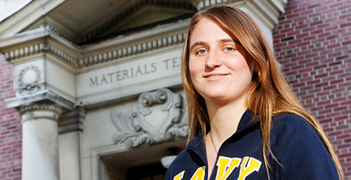 Kristin Schoemaker, a junior in nuclear engineering, plans to be among the first women allowed to serve on a nuclear submarine when she graduates from the UI in 2013.