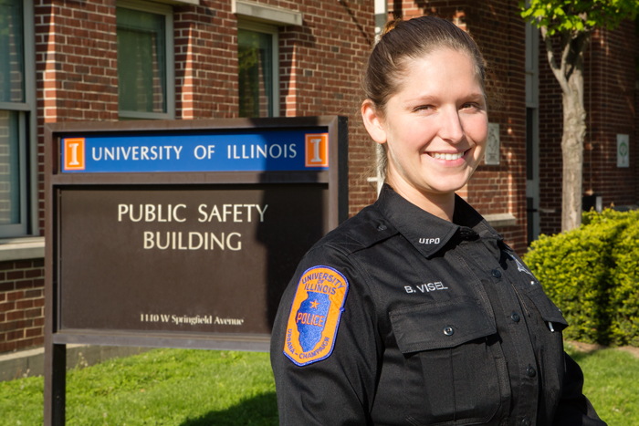 Safety first Officer Beth Visel has been with the U. of I. police department for more than four years. She said the department is responsible for promoting an environment that allows education, research and public service to flourish.