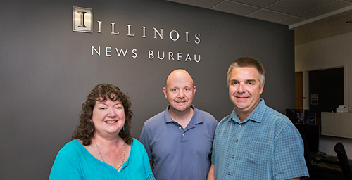Although the next time faculty and staff members receive Inside Illinois, it will be in their email inbox, the online version will include the same kinds of quality news and research articles, and photographs as the print version. And the same staff members will be behind the scenes preparing it: from left, editor Doris Dahl, photographer L. Brian Stauffer, assistant editor Mike Helenthal and the six News Bureau staff writers that contribute the research news.