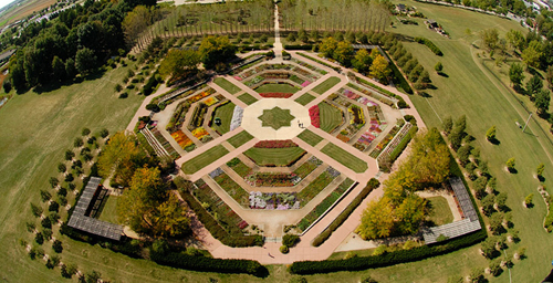 Bird's-eye view of the Miles C Hartley Selections Garden. Lincon Avenue is the top of the photo, the western edge of the Arboretum.