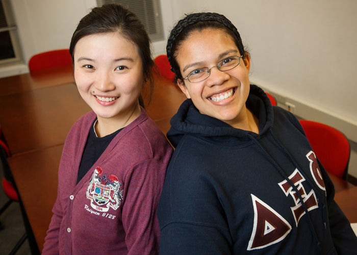 Delta Xi Phi sisters Shixin Lan, left, the associate member educator and treasurer of the U. of I. chapter of Delta Xi Phi, and Yesenia Marquez, the chapter president.