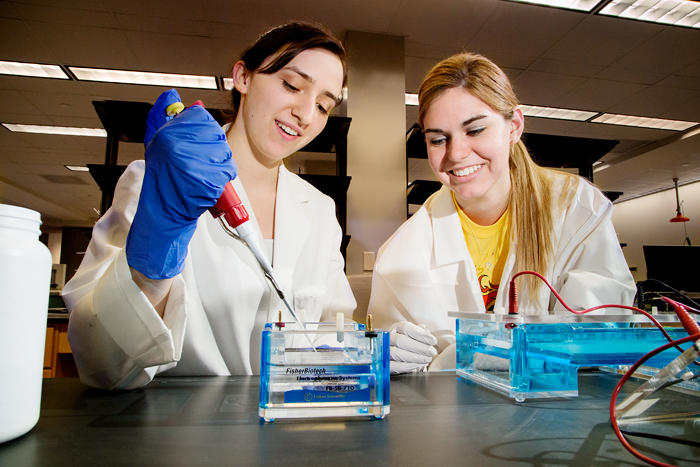 Sophomores in bioengineering Maggie Barbero, left, and Rachel Walker, both members of the World Champion iGEM team, at work in a laboratory in the Institute for Genomic Biology. Their team was the lone undergraduate winner at the international competititon.
