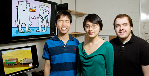 The work of undergraduate animators, from left, Pakpoom Buabthong, Annie Lin and Benjamin Blalock brings development education to people around the world on their cellphones.