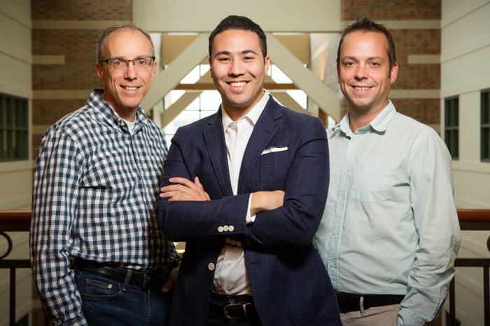 Chemistry professor Jeffrey Moore, graduate student Joshua Grolman and materials science and engineering professor Kristopher Kilian led a research team to create a new synthetic tissue environment for more realistic cell biology research.