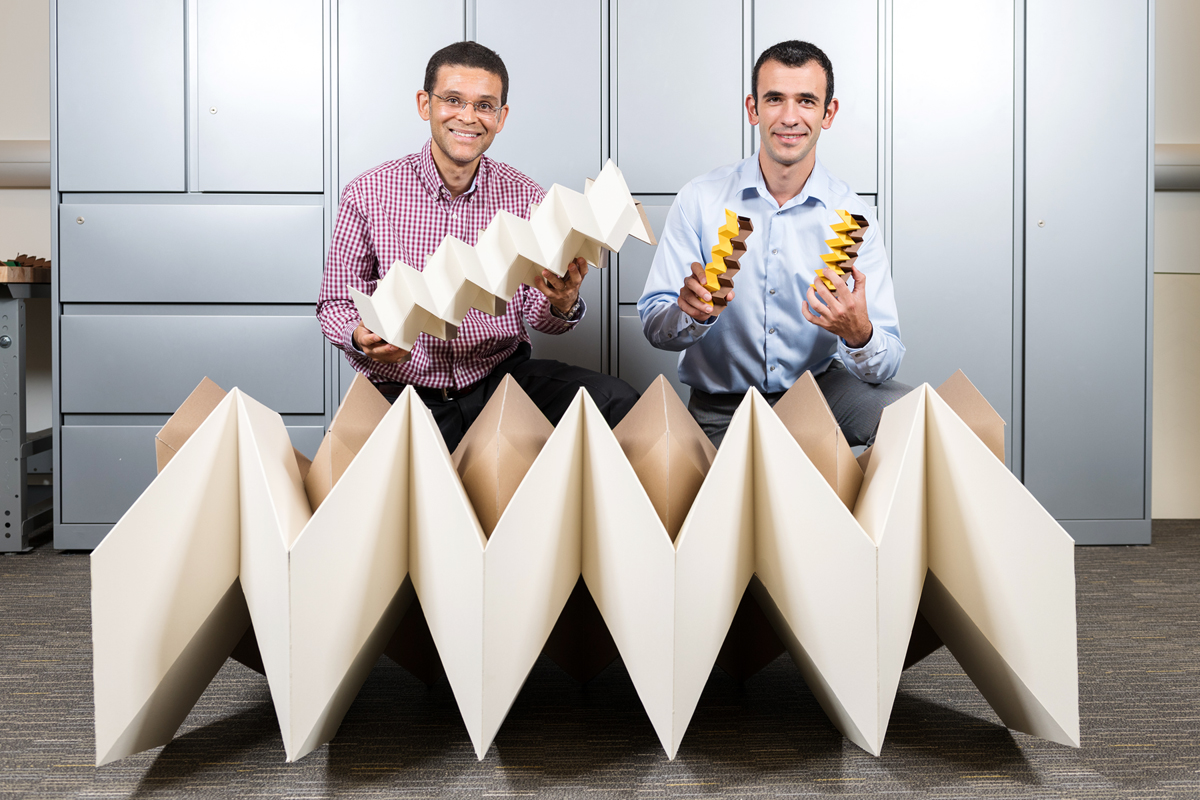 Georgia Tech professor Glaucio Paulino and University of Illinois graduate researcher Evgueni Filipov developed an origami zippered tube folding pattern that allows them to build structures with much greater stiffness than a single sheet of paper. They collaborated with University of Tokyo professor Tomohiro Tachi (not pictured).
