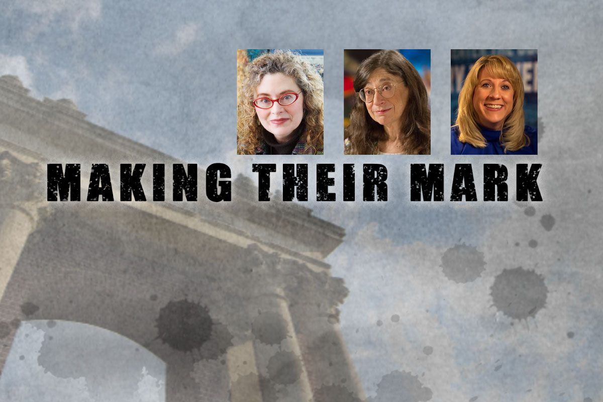 "Computer artist Donna Cox, left, entomologist May Berenbaum, center, and athlete Jean Driscoll are featured in the upcoming Big Ten Network documentary ""Making Their Mark."""
