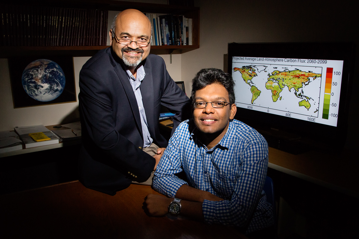 Atmospheric sciences professor Atul Jain and graduate student Prasanth Meiyappan found that most carbon emissions models overestimate the capacity of regrowing forests to take in carbon. Despite a projected abundance of photosynthesis-fueling carbon, nitrogen is limited, thus limiting forests' growth.