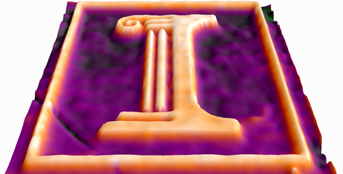 A three-dimensional image of an etched gallium-arsenide semiconductor, taken during etching with a new microscopy technique that monitors the etching process on the nanometer scale. The height difference between the orange and purple regions is about 250 nanometers.