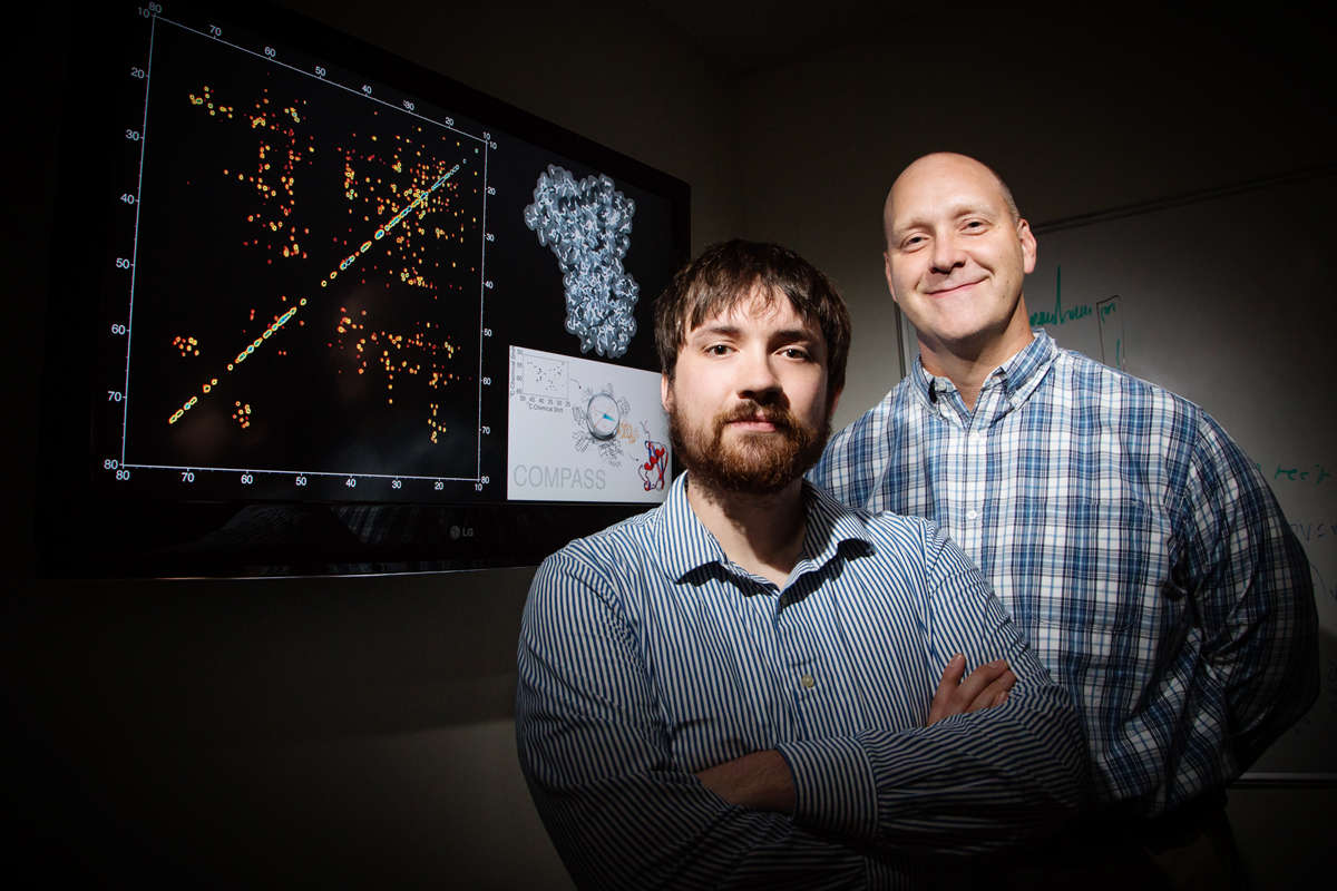 Graduate student Joseph Courtney and chemistry professor Chad Rienstra developed a method to quickly and reliably determine a proteins intricately folded structure