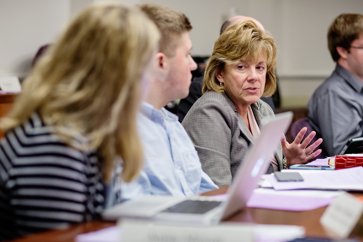 Interim Chancellor Barbara J. Wilson makes a point during discussion about the university's expanded background check policy at the Oct. 12 Senate Executive Committee meeting. Wilson said the revision process needs to be completed before the delay hampers campus hiring.