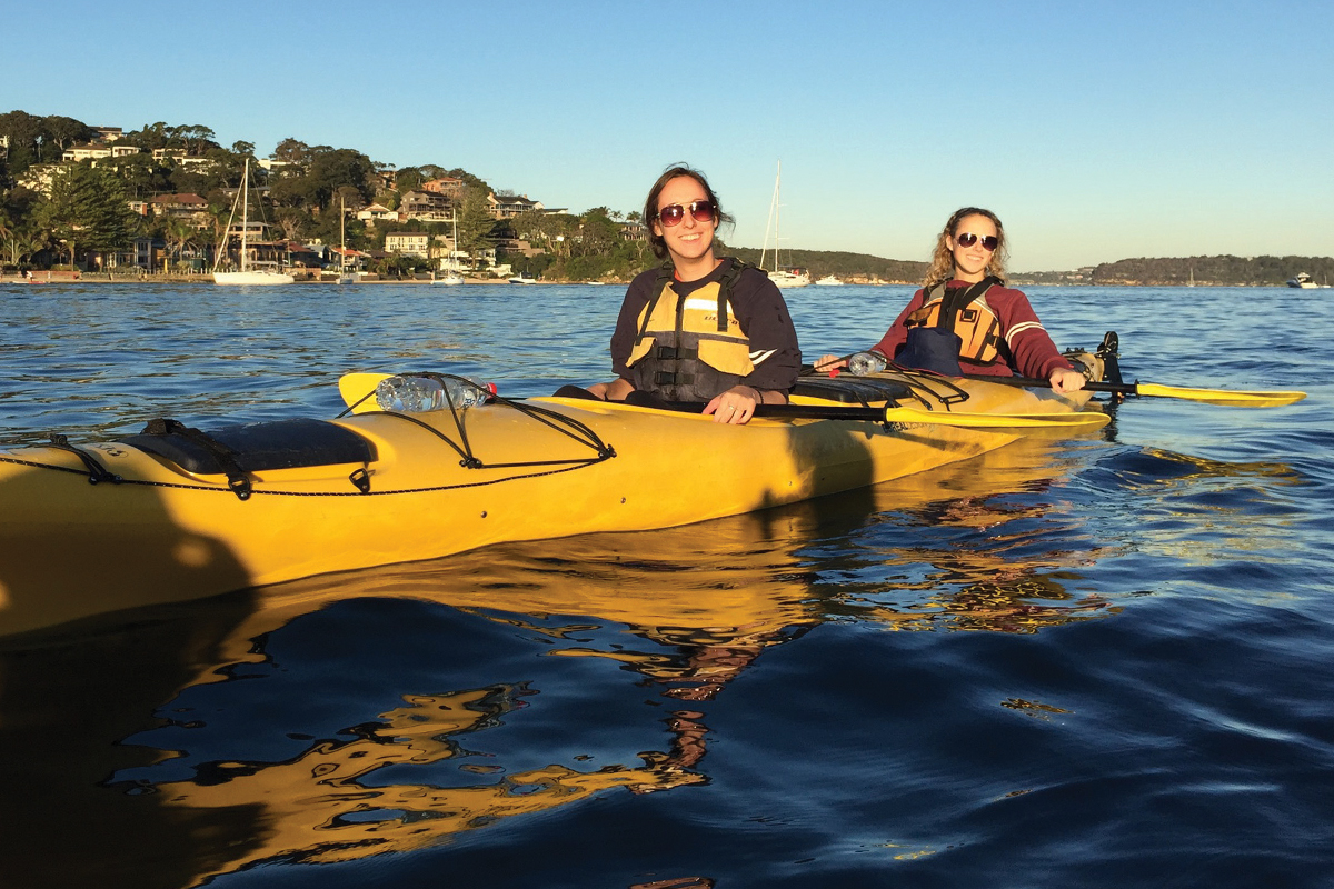 Juniors in education Rachel Granzin (left) and Lindsay Duffy go kayaking near Sydney during a study-abroad trip to Australia.