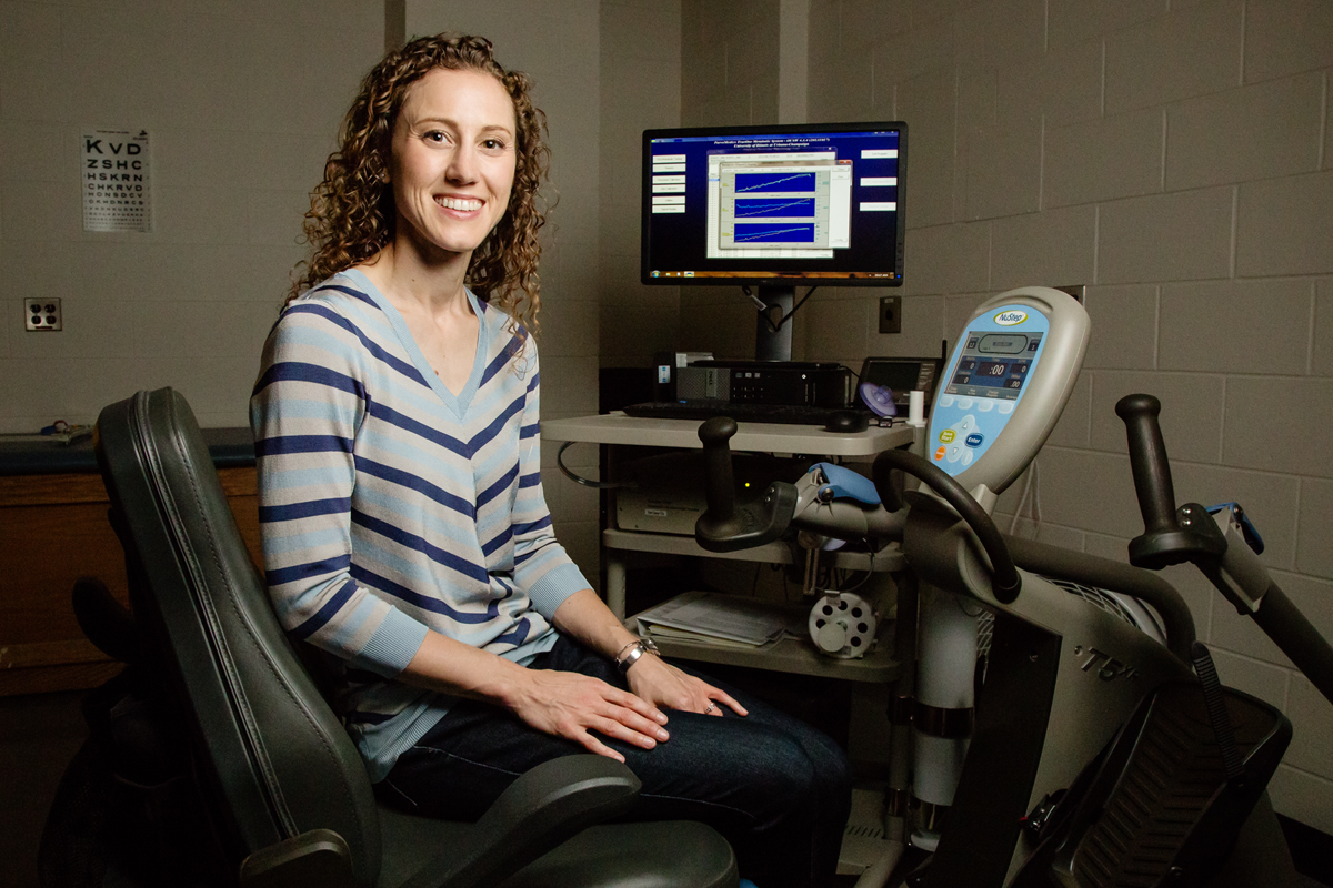 Photo of researcher Lara Pilutti: Kinesiology and community health professor Lara Pilutti found that conventional methods of testing physical fitness in people with multiple sclerosis may underestimate their cardiorespiratory fitness and muscular strength.