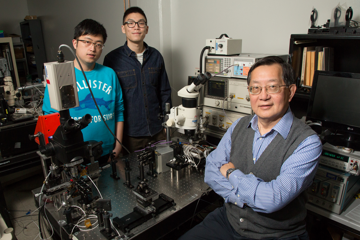 Graduate students Junyi Wu and Curtis Wang and professor Milton Feng found that light stimulates switching speed in the transistor laser, a device they hope will usher in the next generation of high-speed data.
