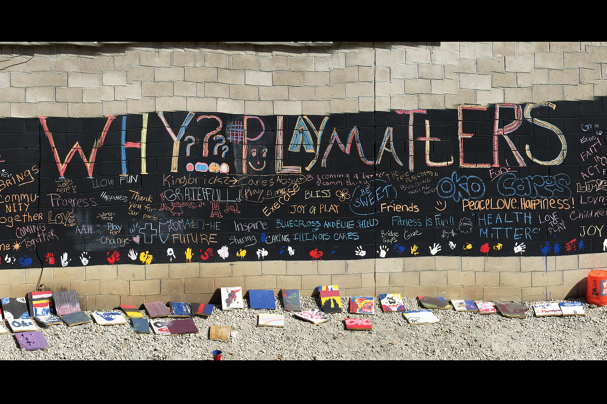 Volunteers who helped with the build were encouraged to write uplifting messages on a wall at the park to underscore the importance of physical activity in community members lives.