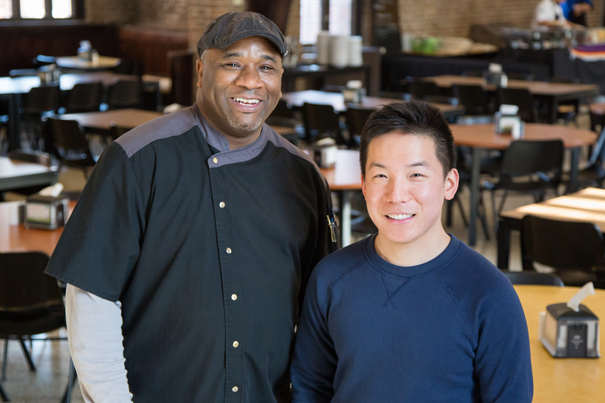 Jason Yue, a senior in engineering, and Eric Pursley, a Presby Hall chef, became friends when Yue first started out as a resident adviser for Presby. Yue, whos been helping those he meets fulfill their bucket lists, took Pursley flying for the first time. The video, posted in September 2015, has received more than 518,000 views.