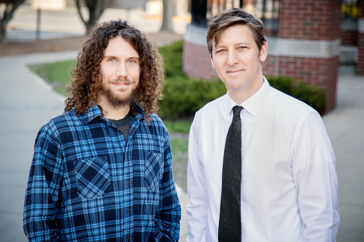 Doctoral candidate Jordan P. Davis, left, and social work professor Douglas C. Smith found that treating withdrawal symptoms could help young adults who use cannabis stay off the drug. The National Institute on Alcohol Abuse and Alcoholism funded the study, published in the Journal of Drug Issues.